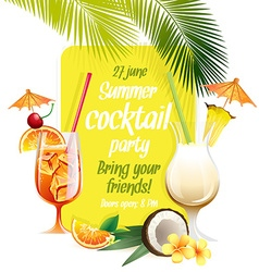 Beach tropical cocktails bahama mama and pina vector
