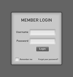 Member login website element vector