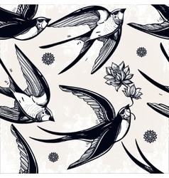 Seamless pattern with swallows in the clouds vector