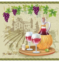 Wine glasses bottle and grapes in vineyard vector