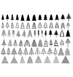 72 christmas trees set 72 christmas trees vector