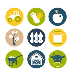 Farm flat icons set vector