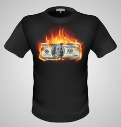 T shirts black fire print man 06 vector