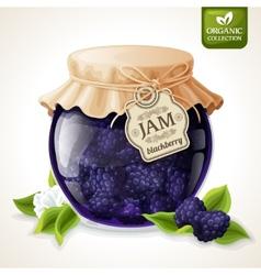 Blackberry jam glass vector image