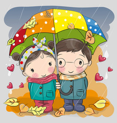 boy and girl with umbrella under the rain vector image vector image