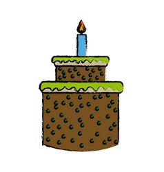 Cartoon cake candle sweet food party icon vector