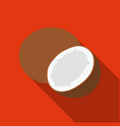 Coconut icon flat singe fruit icon vector