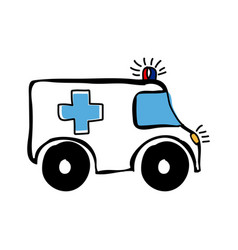 Colorful hand drawn silhouette of ambulance vector