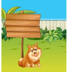 Dog and wooden sign in the garden vector