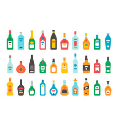Flat design alcohol bottles set vector