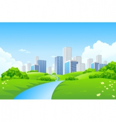 green landscape with city vector image vector image