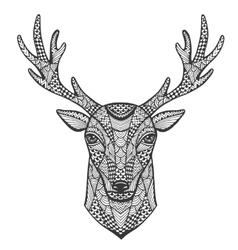 Hand-drawn portrait of a deer in the style of vector image