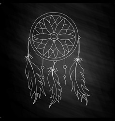 Hand to draw a dreamcatcher vector