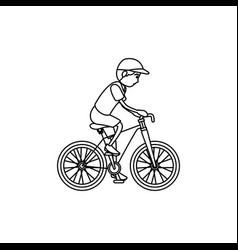 man athlete in bicycle avatar character vector image