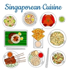 National dishes of singaporean cuisine sketch icon vector image vector image