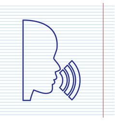 People speaking or singing sign navy line vector