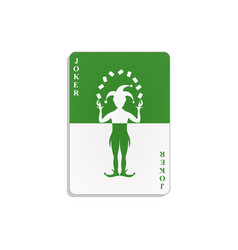 playing card with joker in green and white design vector image vector image