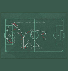 realistic blackboard drawing a soccer game vector image vector image