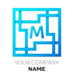 Realistic letter m logo in colorful square maze vector