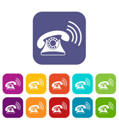 Retro phone icons set vector