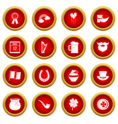 Saint patrick icon red circle set vector