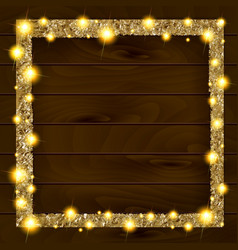 square gold frame on a wooden background vector image