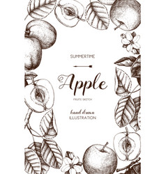 Vintage card design with apple fruits sketch vector