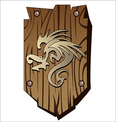 wooden shield vector image