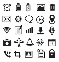 Mobile phone and application icons set vector
