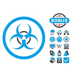 Bio hazard flat icon with bonus vector