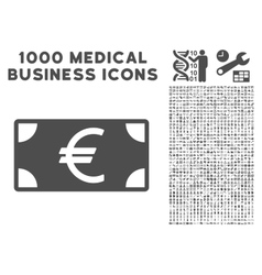 Euro banknote icon with 1000 medical business vector