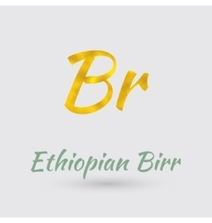 Golden symbol of ethiopian birr vector