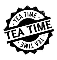 Tea time rubber stamp vector