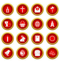easter items icon red circle set vector image