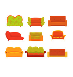 Sofas and armchairs interior elements vector