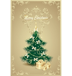 Christmas Tree and gifts bows bell stars garlan vector image