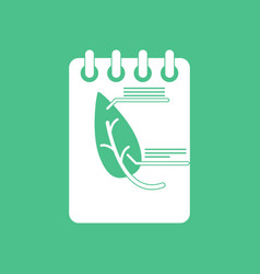 icon notebook and leaf vector image
