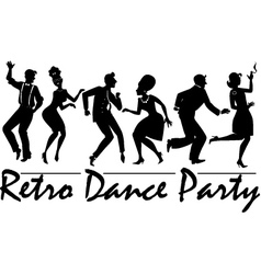 Retro dance party vector image