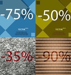 50 35 90 icon set of percent discount on abstract vector