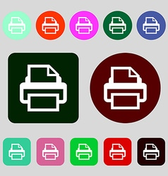 Print sign icon printing symbol 12 colored buttons vector