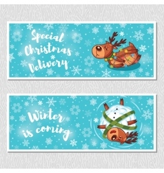 Winter horizontal banners with cute cartoon deer vector