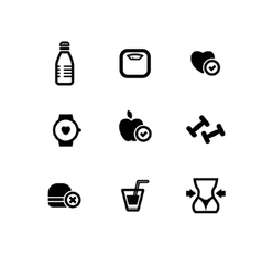 Set of black fitness icons vector