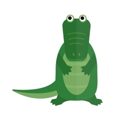 Australian saltwater green crocodile cartoon flat vector