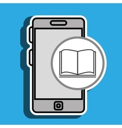 Smartphone blue and book isolated icon design vector