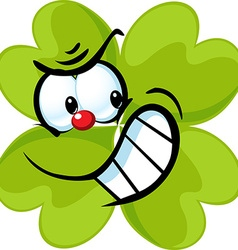 Angry green cloverleaf - funny isolated on w vector