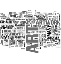 Art work and your health text word cloud concept vector