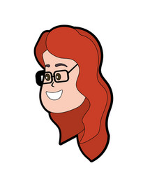 Avatar woman face with hairstyle design vector