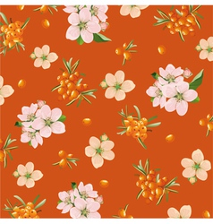 background of sea buckthorn and flowers vector image vector image