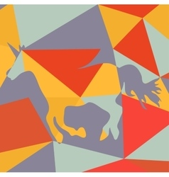 Beautiful running unicorn horse silhouette on a vector