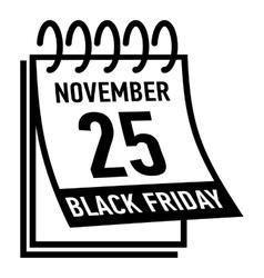 Calendar twenty fifth november black friday icon vector